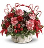 Candy Cane Christmas basket arrangement