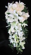 a beautiful White Cascading bridal bouquet