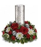 Lets be Merry Centerpiece hurricane candle