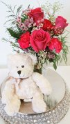 1 Bear Hug With Pink Roses