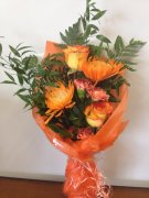 An Orange Hand Tied Bouquet