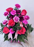 1 A Carnations Roses in Pinks Purple