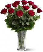 A Dozen Premium Red Roses arranged in a fine vase