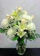 a heavenly vase lilies mums roses white flowers